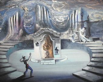 Vintage goauche painting theatre scene