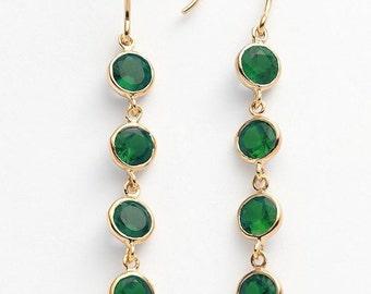 Emerald Linear Earrings