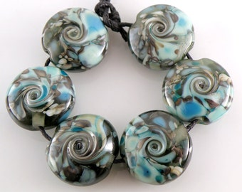 Stormy Shore SRA Lampwork Handmade Artisan Glass Lentil Beads 18mm Made to Order Set of 6