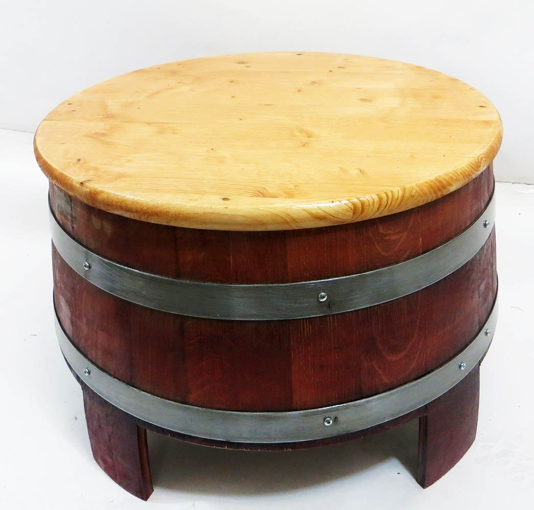 Reclaimed Wine Barrel Coffee Table 24 39 Table Top Lacquer