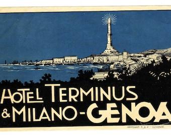 1930s Genuine Original Unused Luggage Steamer Trunk Label: Hotel Terminus  & Milano-Genova