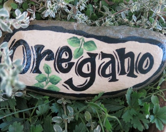 Painted Oregano garden rock, vegetable garden marker, painted Herb garden stone