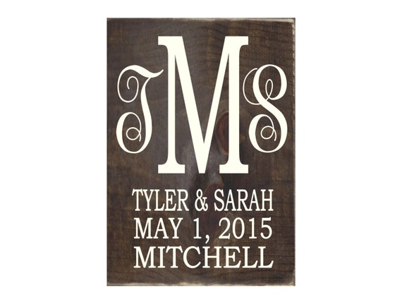 Rustic Monogram Wall Decor : Personalized monogram rustic wood sign home decor wall