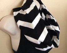 SALE******* Black and white chevron infinity flannel scarf