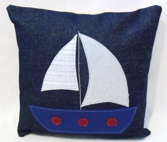 boat nursery scatter cushion blue nautical by FingerPrickingGood