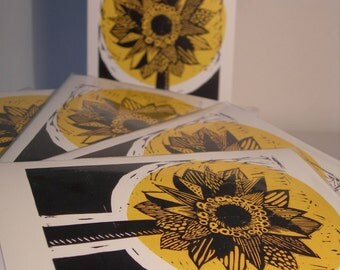 Sunflower, Note / Greetings Card. Blank Inside. With Envelope.