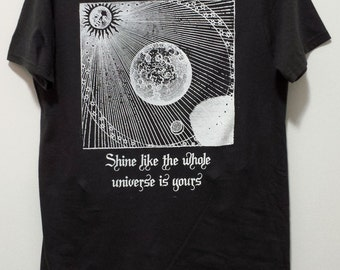 "Alchemical Drawing with Rumi Quote Shirt - ""Shine like the whole universe is yours"""