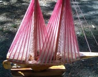 Hand Carved Sail Boat,String Art Sail Boat,Folk ART,Nautical Decor,Home Decor