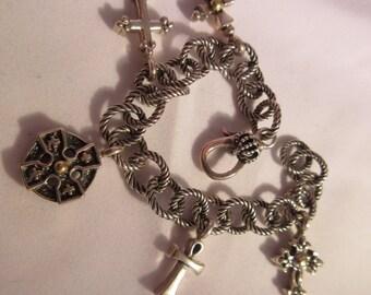 Vintage Sterling Silver & 18K Gold Charm Bracelet