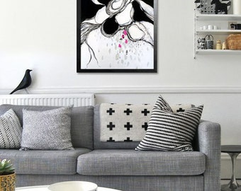PAINTING ON CANVAS 20x20 inch/Modern Art/Abstract Painting/Original artwork/black&white/pink/wall art/home décor