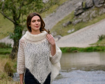 Delicate Kid Mohair Lacy hand knitted Poncho in Cream