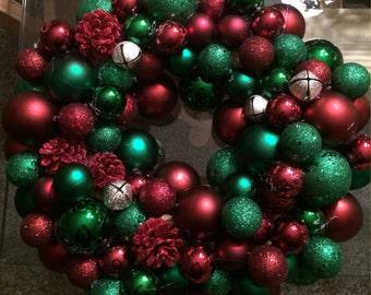 Holiday ornament wreath