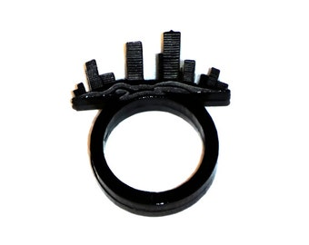 Cityscape Ring, City scape silhouette, Storm City Ring, Laser Cut Acrylic Ring, Tower Ring