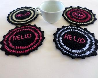 Set of 4 crochet coasters, mug coasters, handmade coasters, mug mats, glass mats