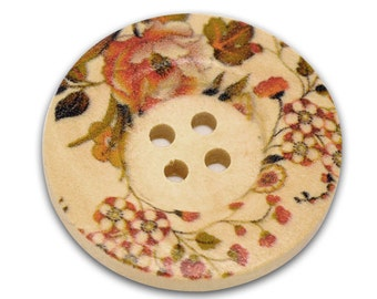30 Flower Wood Painting Sewing Buttons 30mm B12366