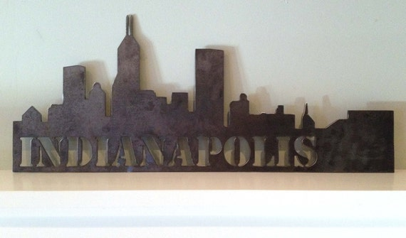 Indianapolis Skyline Metal Art Cityscape 24x10 By Haagmade On Etsy