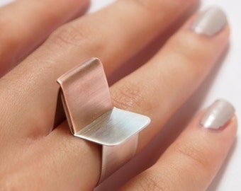 Modern Geometric Sterling Silver and Copper Ring with Matte Finish