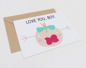 Postal te quiero, Tarjeta divertida San Valentín, Sobre reciclado marrón
