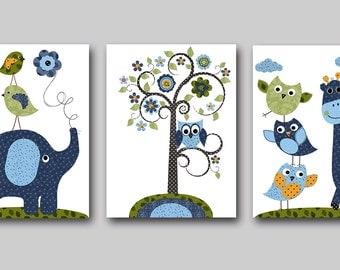 Navy Blue Baby Room Decor Elephant Nursery Giraffe Nursery Printable Art Instant Download Digital Print Baby Boy Nursery Set of 3 8x10 11X14