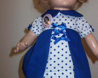 """Shirley Temple doll dress for 17 inch compo from Movie """"captain January"""" Royal blue pique with white and blue polka dots."""