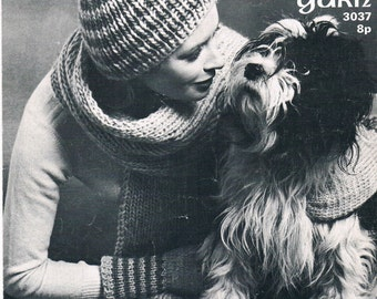 Vintage Knitting and Crochet Pattern PDF: 1970s Scarf Hat and Mitts Knitting Pattern Instant Download Digital Copy