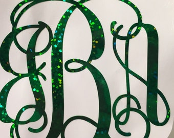 Glitter Vine Interlocking Monogram Decal