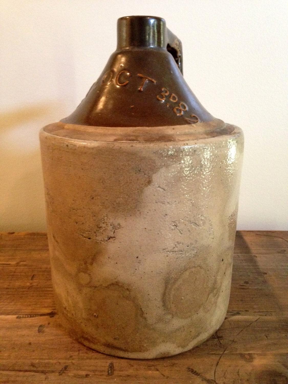 Primitive Antique c.1882 Salt Glaze Stoneware Whiskey Jug