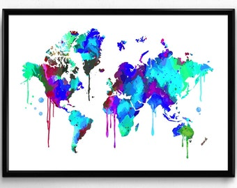 World map painting etsy world map watercolor illustrations art print giclee wall decor christmas gift housewarming gift wedding gift birthday gumiabroncs Image collections