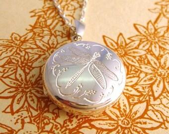 Silver Dragonfly Locket, silver locket, engraved locket