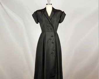 Vintage 50s Dress / Black Taffeta Velvet Trim 1950s Dress / Medium