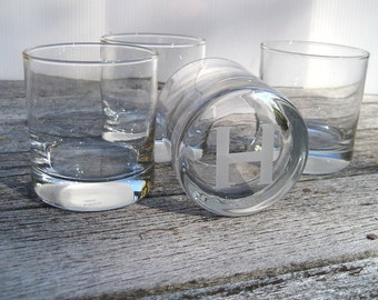 Rocks Glass Set - Monogram Glass Set - Custom Engraved Glassware - Family Name Glass set of 4
