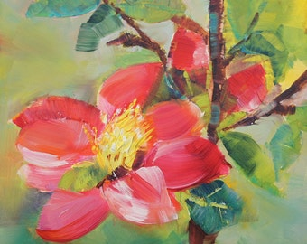 Original oil painting, small oil painting,  original floral oil painting, floral painting, by Lisa Fu,  6 x 6