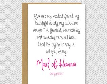 1 Year Wedding Anniversary Gift From Maid Of Honor : be my maid of honour card bridesmaid card maid of honor card wedding ...