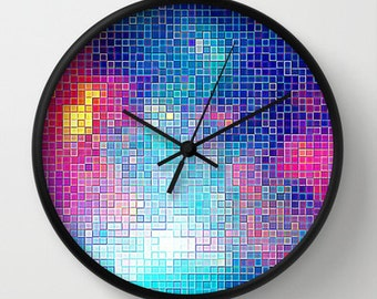 Colorful Clock, Colorful Pixel Sky Clock, Wall Clock, Pretty Clock, Pink Clock, Blue Clock, Home Decor