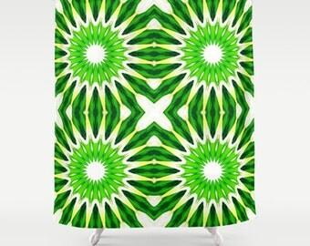 Shower Curtain, Pinwheel Flowers Serene Green Shower Curtain, Green Shower Curtain, Bathroom Decor, Home Decor, Tropic Green Shower