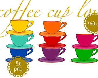 digital coffee clip art - instant download - 8x coffee cup clipart png - commercial uses allowed - for coffee lovers - rainbow colors
