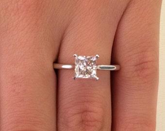 1.00 CT Princess Cut d/si1 Diamond Solitaire Engagement Ring 14k White Gold