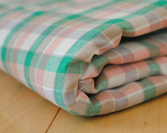Japanese Fabric Linen Fabric Plaid Pink and Green