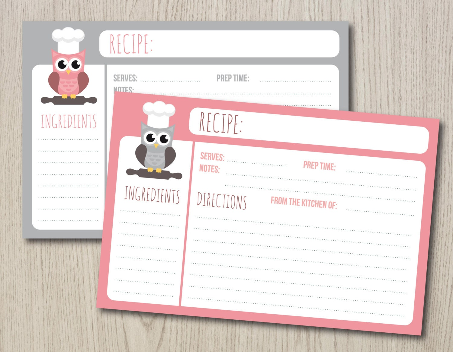 This is an image of Universal Printable Recipe Cards 4x6