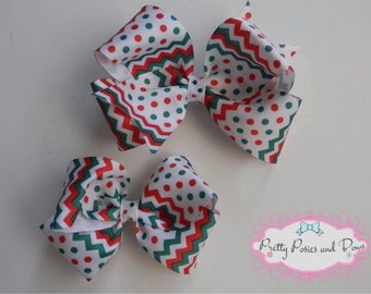 Red and Green Chevron Christmas Holiday Hair Bow, Christmas Hair Bow, Christmas Bow