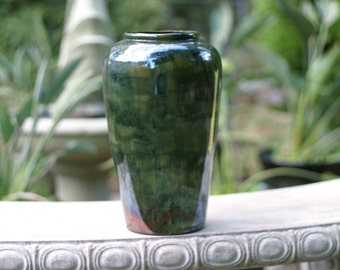 Raku Green Pottery Flower Vase - Raku Ceramic Vase - Raku Pottery -Kiln ceramics