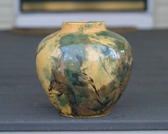 Raku Yellow and Green Pottery Flower Vase - Raku Ceramic Vase - Raku Pottery -Kiln ceramics