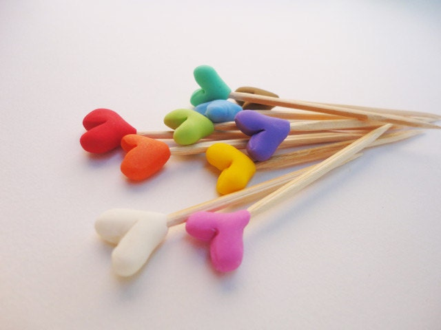 Mini heart toothpicks cake topper skewer plant stake for Some canape picks