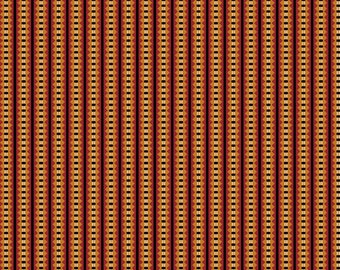 Savannah Fabric - Gold and Red Geometric Stripe