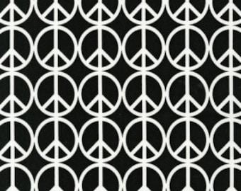 Iota - Black & White Peace Signs Fabric