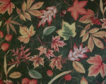 Nature's Bounty - Leaves on Green Fabric
