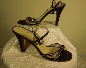 SALE!!! Vintage Garolini Slingbacks. Brown with Gold Buckle and Trim. Size 6. Made in Italy.