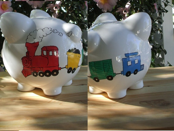 Ceramic piggy bank with hand painted train by creationsbycera - Train piggy banks ...