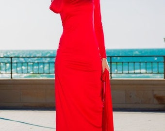 Red maxi dress Long dress for women Red dress with long sleeves Red dress on the floor Autumn dress Women's clothin.