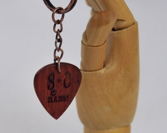Father's Day Gift - Personalized Guitar Pick on a key chain  - Handmade Exotic Wood Guitar Picks